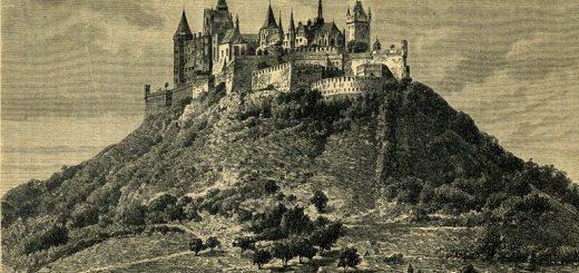 Замок на скале. Средневековая архитектура.