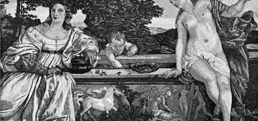 Тициан, «Любовь небесная и Любовь земная», черно-белая