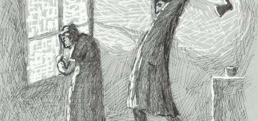 Черно-белая иллюстрация из Преступления и наказания. Раскольников убивает бабку
