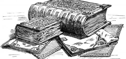 Книги, черно-белая картинка