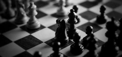 Шахматы, черно-белая картинка, соперничество