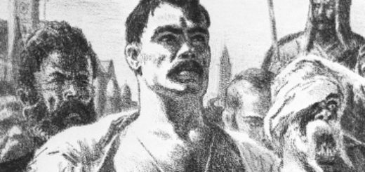 "Остап из повести Гоголя ""Тарас Бульба"", черно-белая картинка"