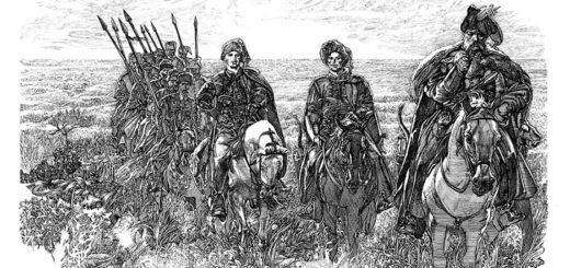 Тарас Бульба с сыновьями, черно-белая картинка