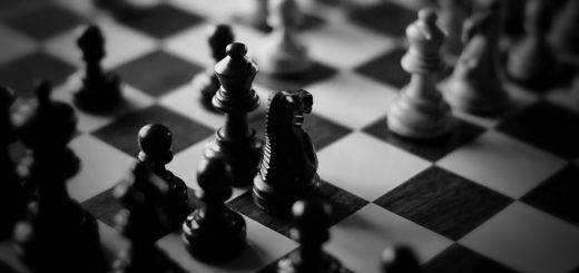 Шахматы, черно-белая картинка