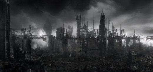 разрушенный Город, апокалипсис, черно-белая картинка