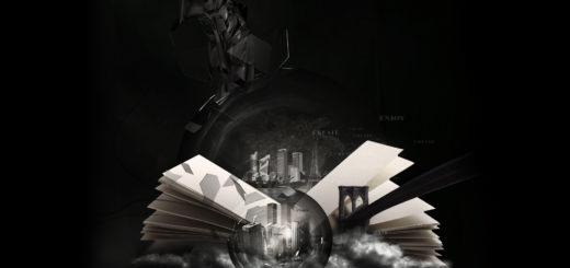 Город в книге, черно-белая картинка