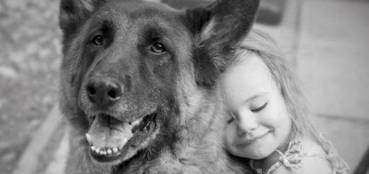 девочка с собакой, дружба, черно-блая картинка