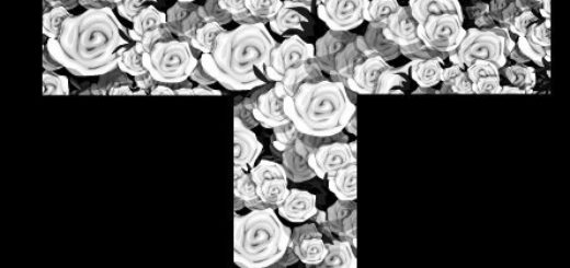Цветочный крест, черно-белое фото