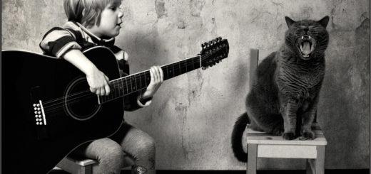 Маленькая девочка и кот, черно-белая картинка