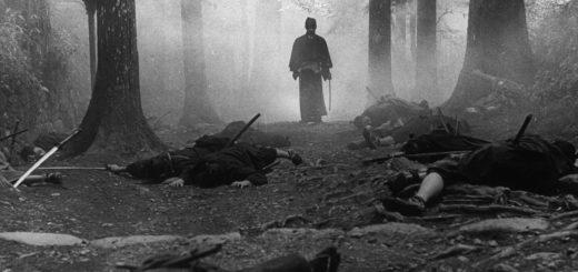 Честь, самураи, лес, туман, черно-белая картинка