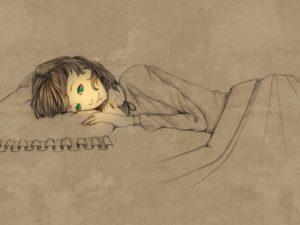 девочка спит, рисунок