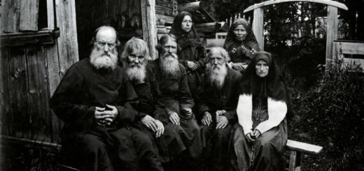 Старообрядцы, раскольники в России, черно-белая картинка