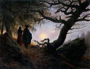 Двоемирие, двое, созерцающие луну