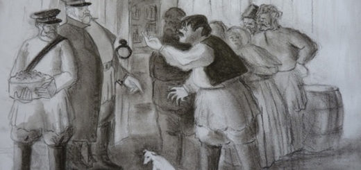 Хамелеон рассказ, черно-белая иллюстрация