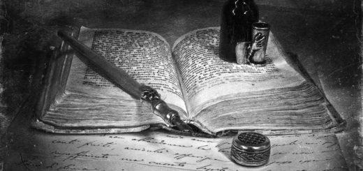 книга, чернильница, черно-белая картинка