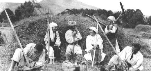 крестьяне на покосе, черно-белое фото