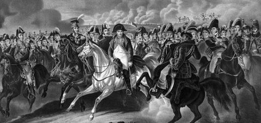 Наполеон среди своей армии, черно-белое фото