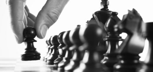шахматы, черно-белое фото