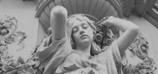 скульптура, девушка, черно-белое фото