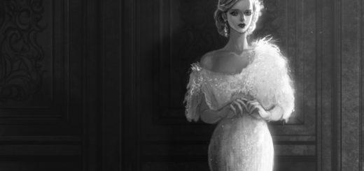 Девушка в вечернем платье, грустная, черно-белое фото