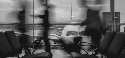 Аэропорт, черно-белое фото