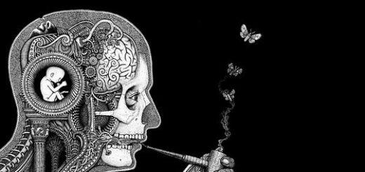 абстракция, мозг, трубка, разум, черно-белое фото