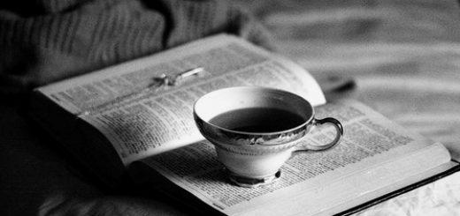 книга, чай, постель, черно-белое фото