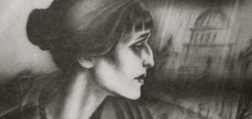 Анна Ахматова, черно-белый рисунок