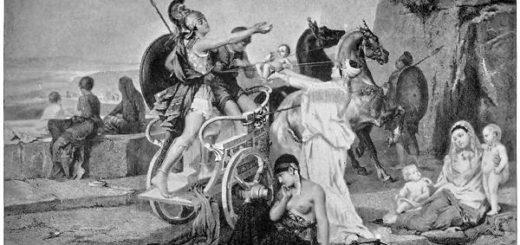 пьеса Андромаха, иллюстрация, черно-белая