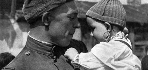 Солдат с ребенком, Судьба человека, черно-белое сочинение