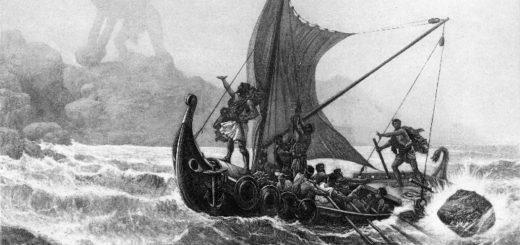 Одиссей на корабле около острова с циклопом