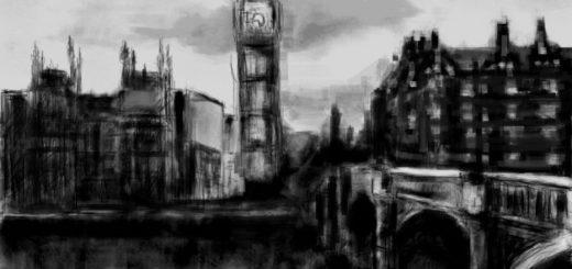 город, акварель, Лондон