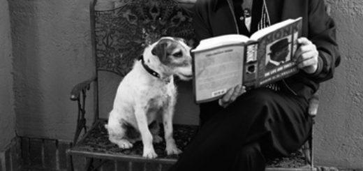Бред Пит с собакой и книгой