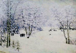 русская зима, картина Юона