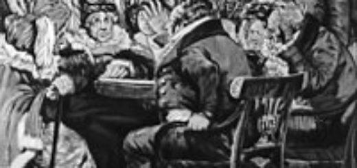 """Иллюстрация к пьесе Грибоедова """"Горе от ума"""", фамусовское общество"""