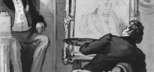 Иллюстрация к повести Гоголя Портрет, художник и ростовщик