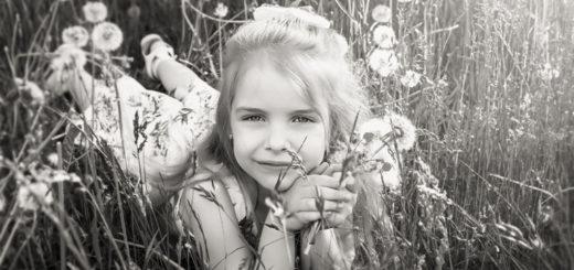 ребенок, девочка в поле