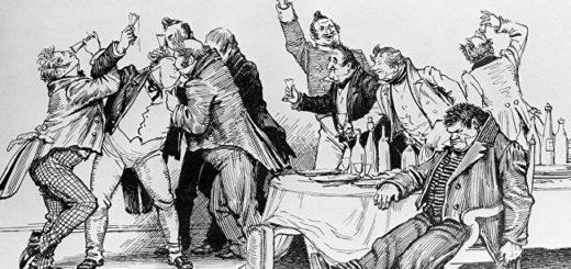 Мертвые души, иллюстрация к поэме, пир чиновников и помещиков