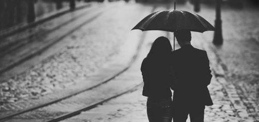 любовь, пара под зонтом