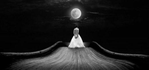 женщина, дама, девушка лунной ночью