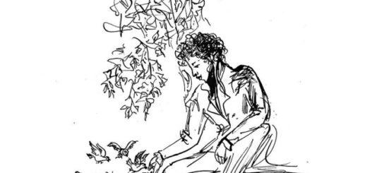 Александр Пушкин кормит птиц