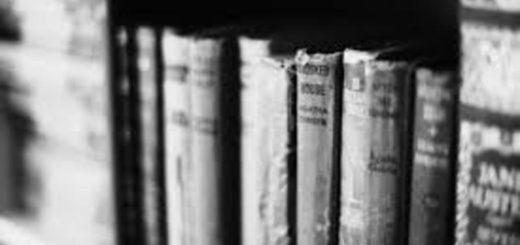 книги, старинные переплеты, полка с книгами