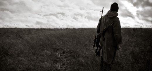 солдат в поле