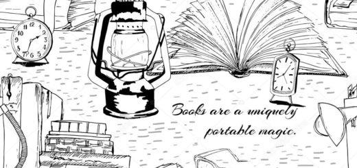 книги, очки, лампа