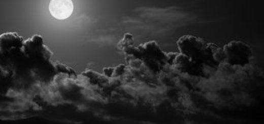 ночь, облака, полнолуние