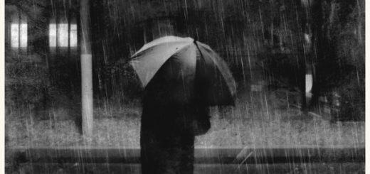 человек с зонтом, грусть, осень, дождь