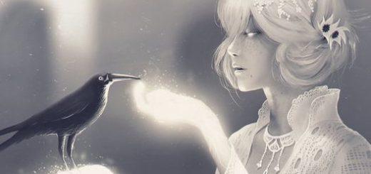девушка кормит птичку, доброта